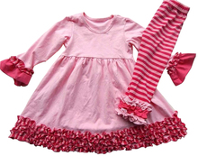 Kids wholesale Spring clothes heart print turkish baby clothes ruffle pants clothes kids white top pink valentines outfits