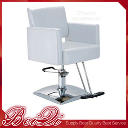 White Color Acrylic Styling Chair Salon Furniture Square Base Hair Styling Chair