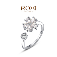 ROXI New Design Fashion Jewelry Adjustable Flower Shaped Cubic Zirconia Ring