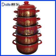 New product 5pcs cooking pot cast iron red enamel casserole