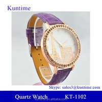quartz stainless steel watch purple with king Eiffel Tower