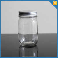 16 OZ clear unique honey canning glass jars without handle with metal lid