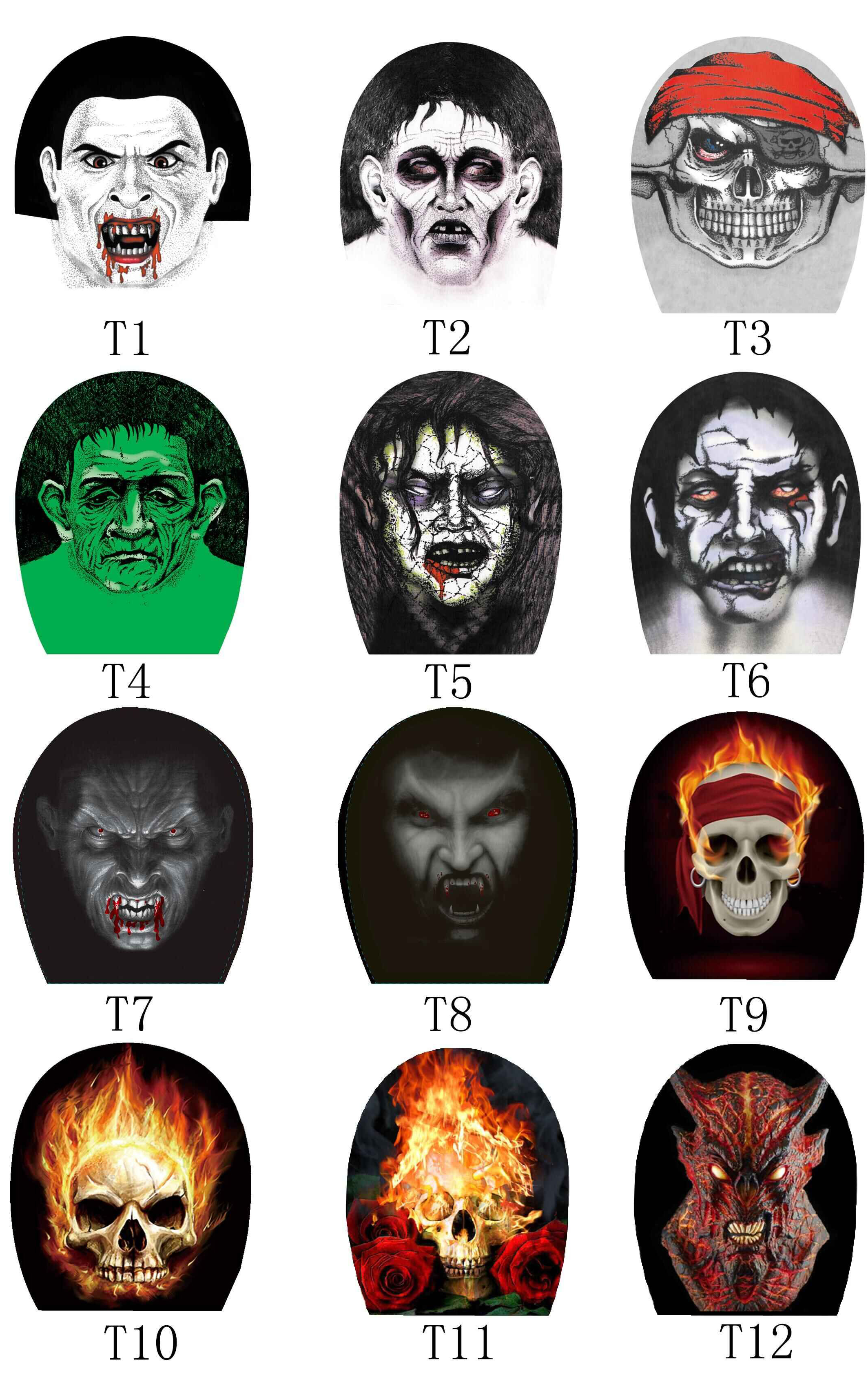 KaPin cheap halloween party supplies ghost printed unique elastic nylon scary masks for wholesale