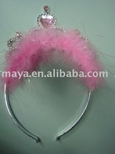 Pink feather princess crown for kids