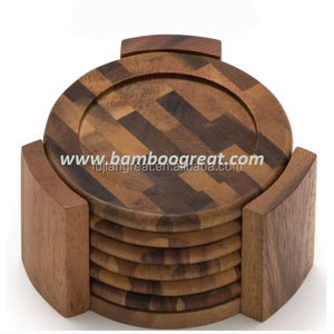 7 Pieces Acacia Wooden Coasters Wholesale New