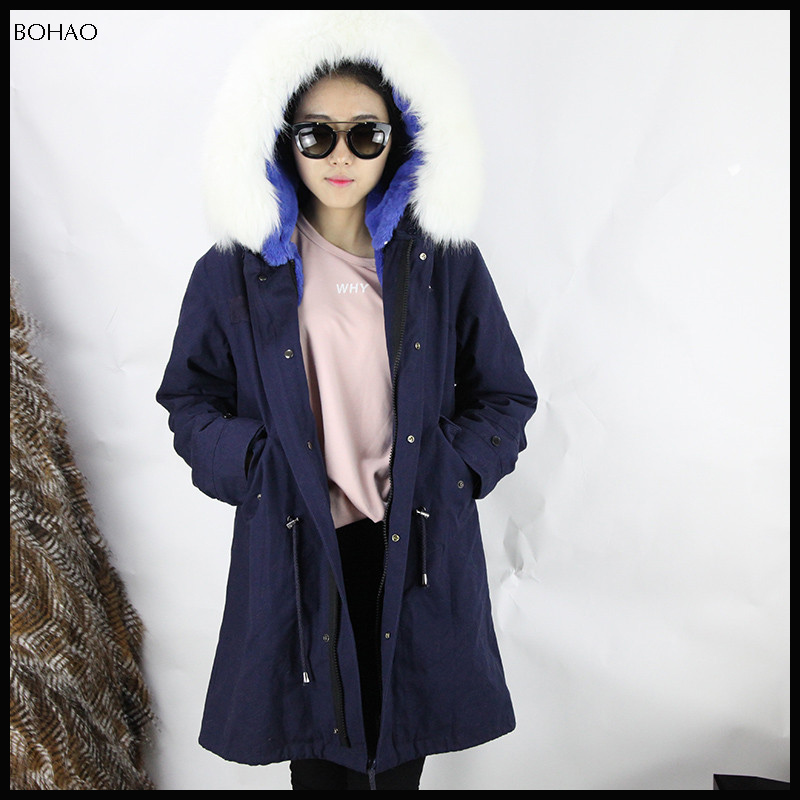 2016 The Latest Design Top Fashionable Style Blue Jacket Lining Rabbit Fur
