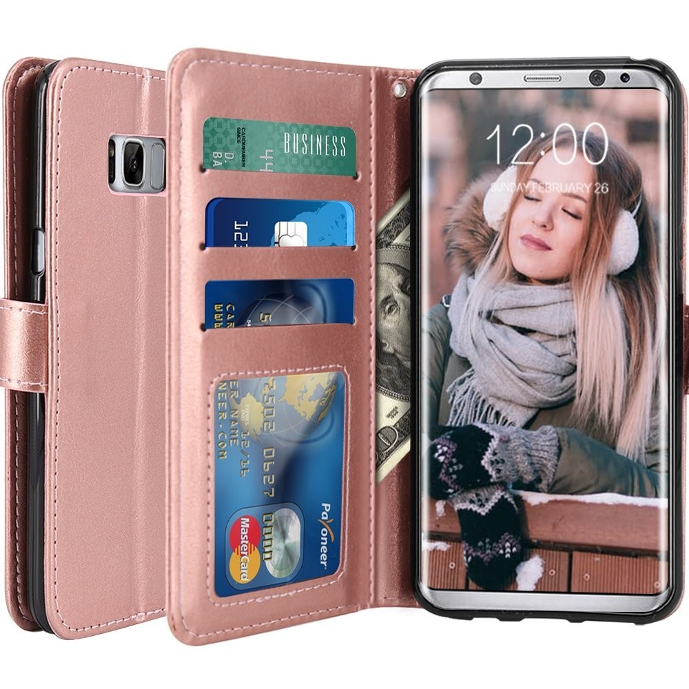 C&T Luxury PU Leather Wallet Flip Card Slots Stand Protective Case Cover for Samsung Galaxy S8