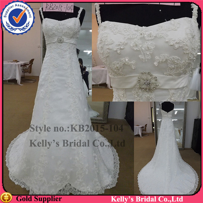 pictures of women that touch spaghetti straps high seam lace and beading guangzhou wedding dress factory