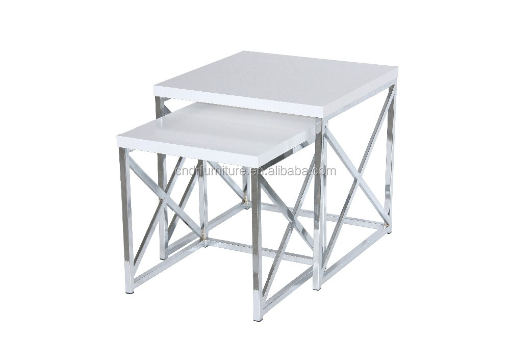 2pcs chrome frame PU painting top coffe nesting table for USA market