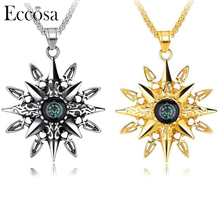 Stainless Steel Charm And Compass Pendant Necklace,Fashion Creative Necklace Jewelry For Men Women