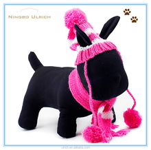 PS1601 fashion acrylic knitted dog hat scarf attached