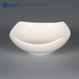beautiful ceramic salad bowl / unique fine porcelain salad plate / white square salad bowl