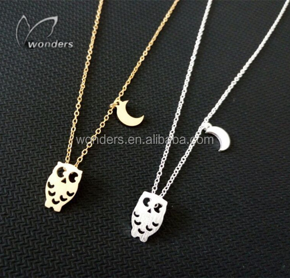 Cute Origami Owl Moon Charms Pendant Necklace 18K Gold Silver Plated Custom Women Steel Jewelry Wholesale