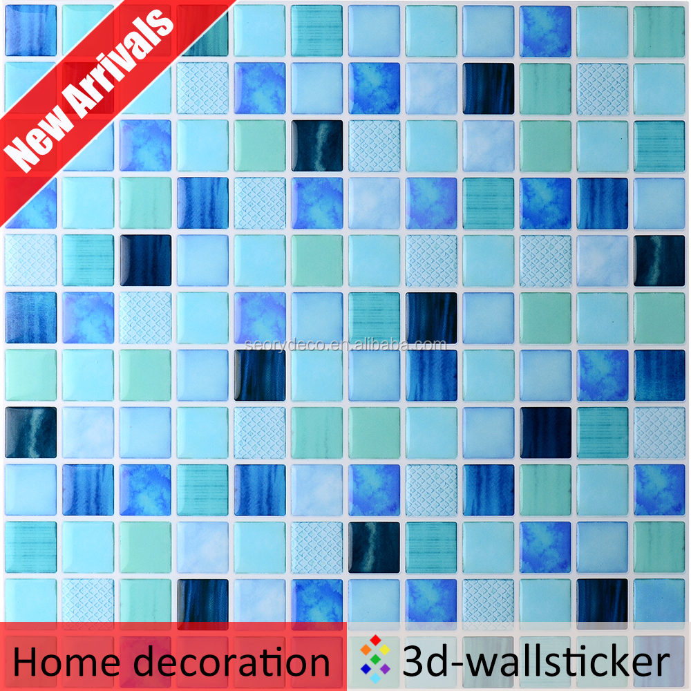 Hot sell fresh style muti-color 3D gel mosaic wall tile with pattern as furniture decorations