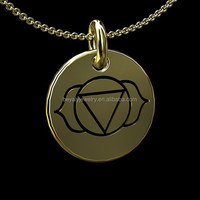 wholesale 14K Gold Third Eye Ajna Chakra Disc Pendant