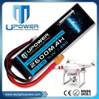 Upower 2200mah 3s1p rc models high power lithium polymer battery pack for UAV FPV airplane models