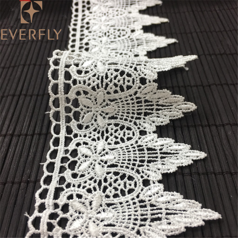 White embroidered net lace craft ribbon decorative lace trim