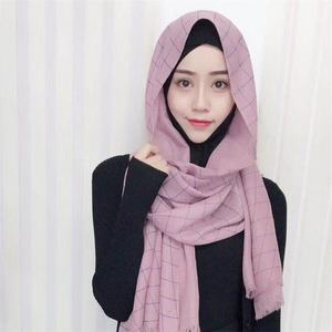 Recreational Style Cotton Material Grid Pattern Autumn&Winter Season Muslim hijab fashion scarf malaysia arab hijab
