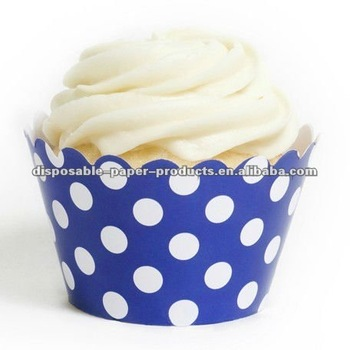 designer cupcake standard size wrappers, Wrap Royal Blue And White Polka Dots Cupcake Wrappers Wraps
