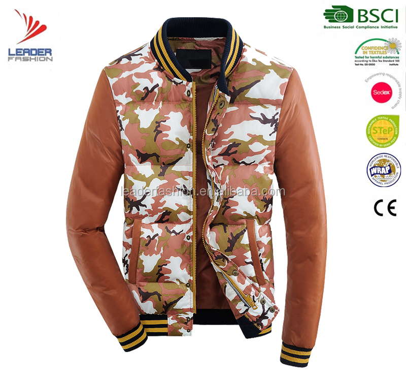Mens winter bomber jacket camouflage down printing jacket