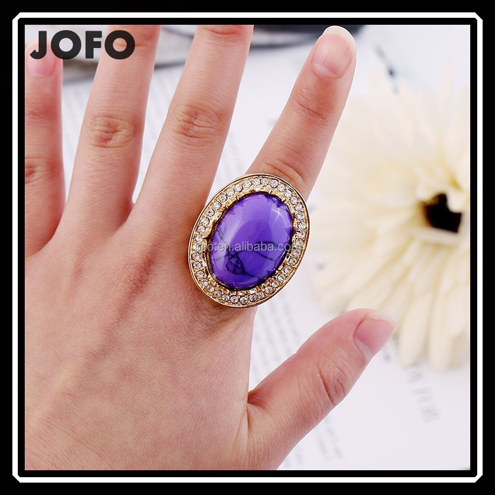 High Quality Hollow Letter G Big Sapphire Finger Ring Bijuteria 2018 Wholesale Products XPJ0174