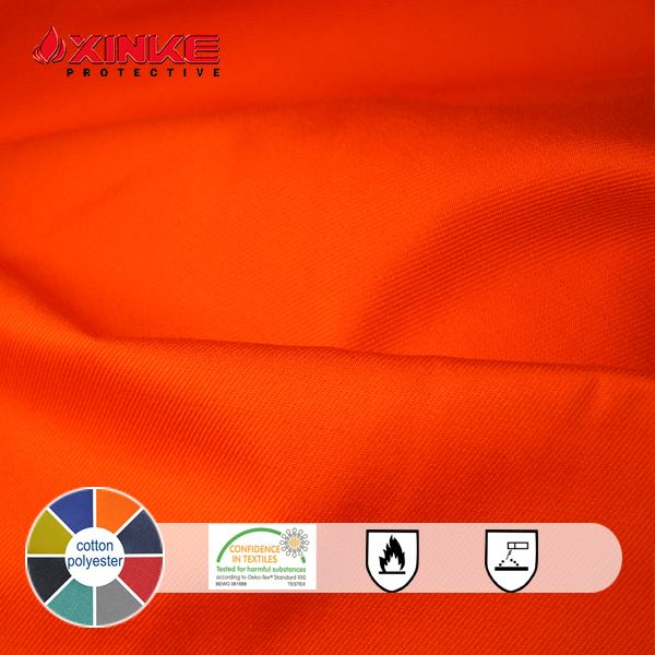 EN20471 Hi-Visibility CVC fireproof anti-static and anti-acid&alkali fabric for safety apparels