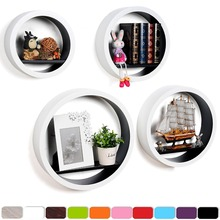 3m set4 round decorative wooden wall shelf for wall living room