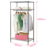 Modern 3 Tiers Adjustable Metal Wire Closet Shelving with NSF Approval