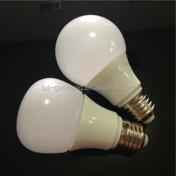 hot sale low consumption indoor round cover and pp encase aluminum high quality led chip white 5W plastic LED bulb