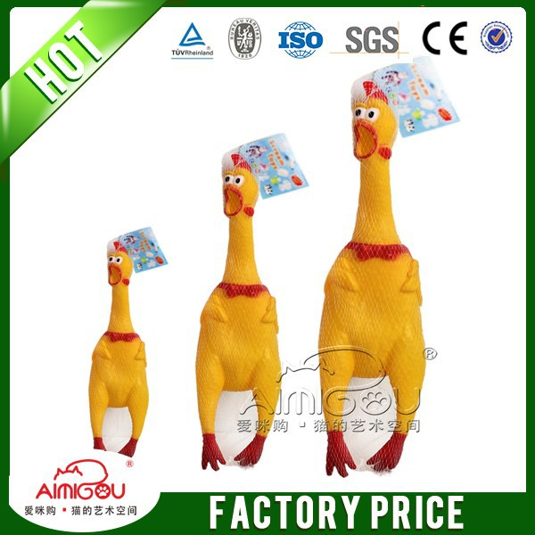 2016 aimigou cheap price chicken duck shaped latex chewing pet toy with squeaker