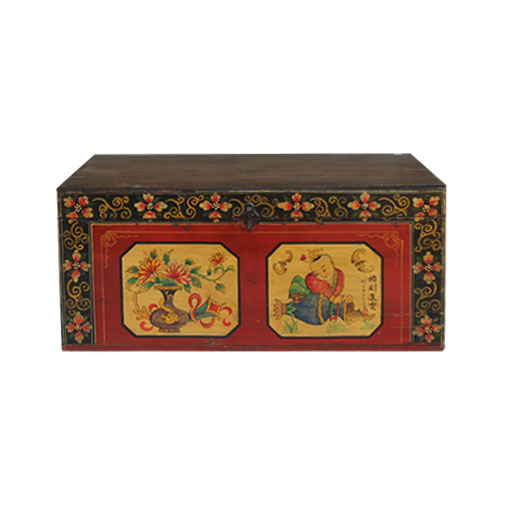 2016 hot-sale chinese antique furniture& reproduction painted trunk box