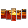 Nature Landscape Sunset Photography Printing 5-Panel Monument Valley American Landscape Photo Canvas Printing