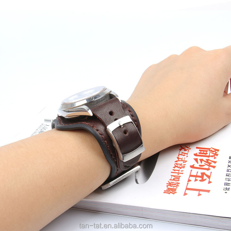 Brown Black Leather Bands for Men Wrist Watches