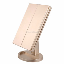 Touch Switch Rectangular Battery Operated LED Make Up Cosmetic mirror Shaving Vanity Standing Mirror