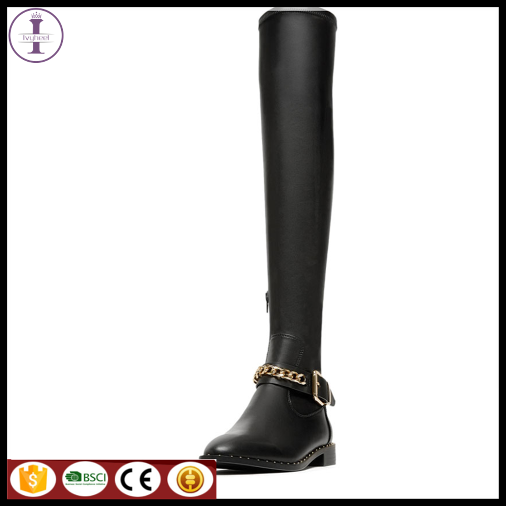 2017 fashion ladies winter boots genuine leather long knee boots women ankle casual flat boots