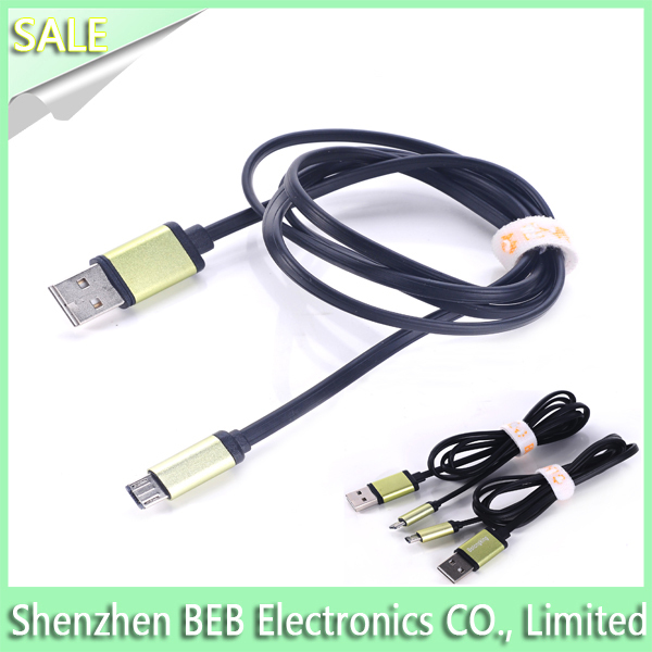 Durable Wholesale Double Side Noodle usb otg cable for iphone 5