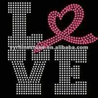 Love Ribbon Breast Cancer Awareness iron on crystal transfers