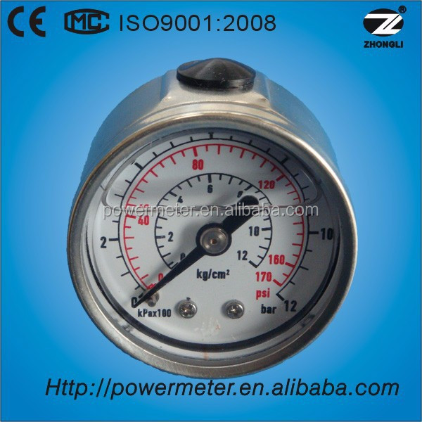 "1.5""40mm Back connection oil filled pressure gauge movement stainless steel"