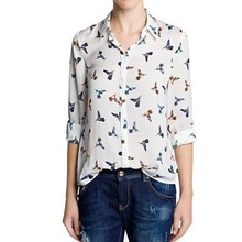 NG5010 2014 newest design blouses animal pattern chiffon blouses for women