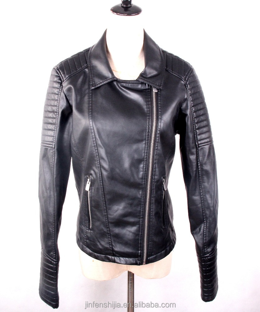Cheap low prices black leather jacket women 2016