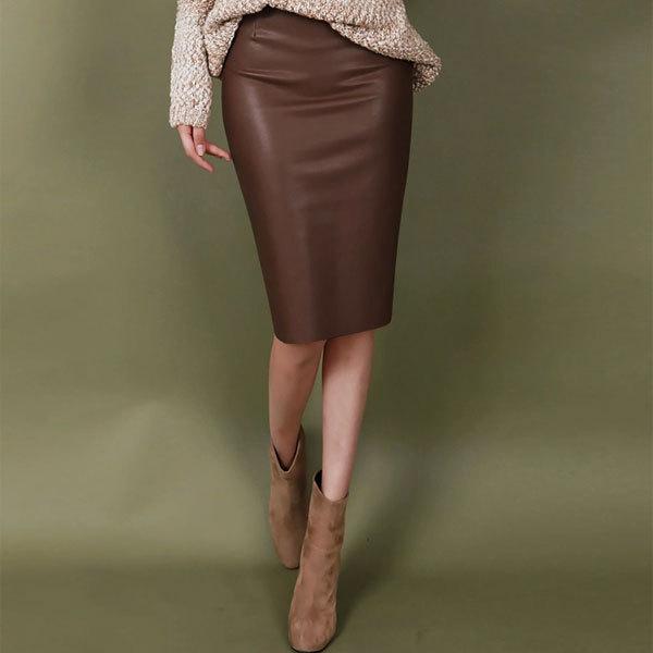 fashion new back vent brown knee length high waist office. Black Bedroom Furniture Sets. Home Design Ideas
