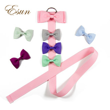 Pink Plain Ribbon Handmade Girls Solid Color Hair Bows Holders