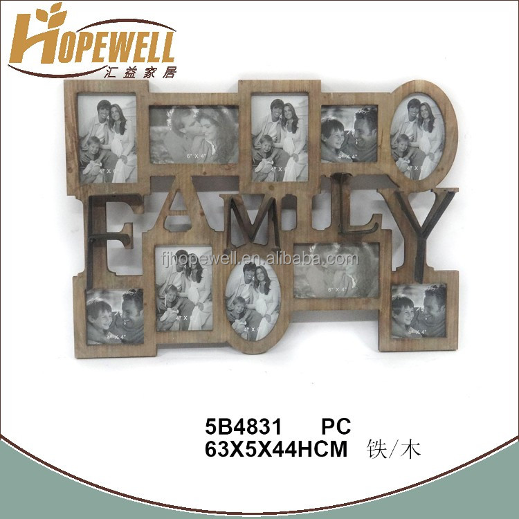 Custom shabby chic wood multi wall hanging tree family picture frame