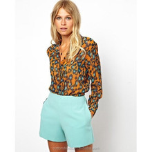 LS16 wholesale and OEM service printed leopard models chiffon blouse