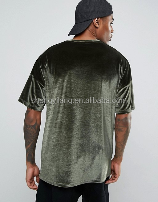 Mens Oversized In Velour In Khaki Wholesale T-Shirt