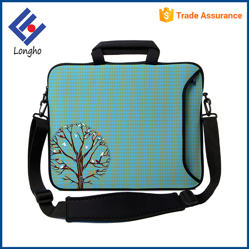 2017 New arrivals detachable shoulder strap fashion notebook bag beautiful tree & flower custom printed neoprene laptop sleeve