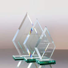 New design laser engraved high quality nice triangle crystal trophy plaque as business awards & anniversary souvenir