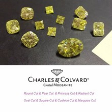 Charles Colvard Certified Fancy Yellow Color Synthetic Moissanite Gemstone For Sale different shapes available