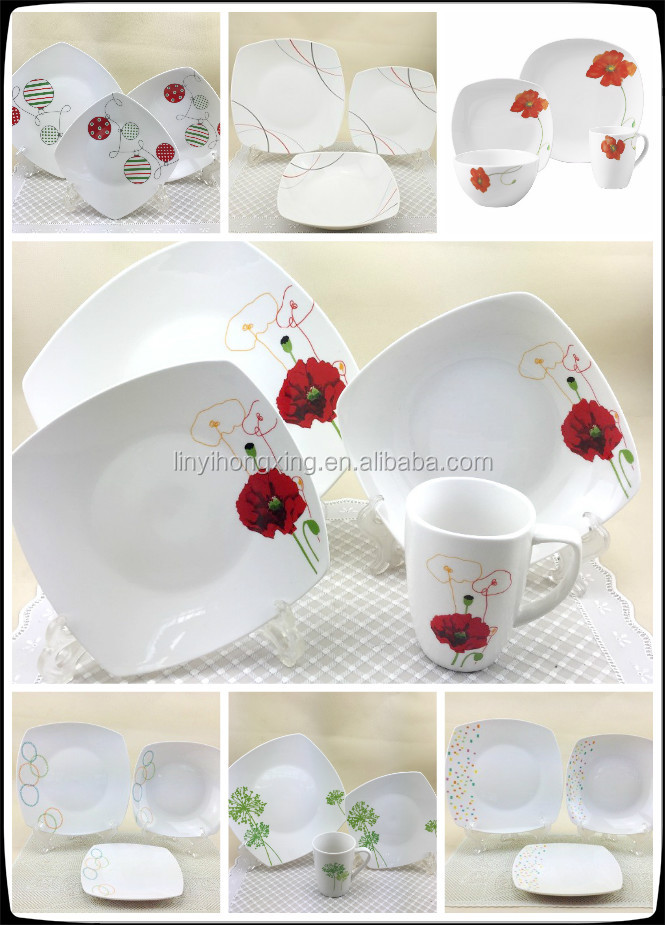 12pcs dinner set with black flower porcelain tableware with decal decoration