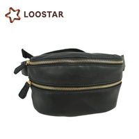 Waterproof Waist Bag PU Leather Hip Bag Leather Stretch Running Pocket Belt Bag with Zipper